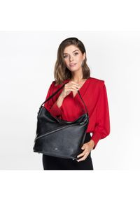 Czarna torebka worek Wittchen w kropki, na lato, biznesowa #5