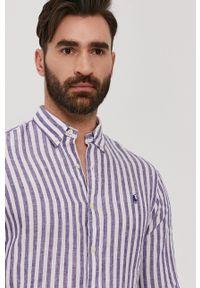 Polo Ralph Lauren - Koszula. Typ kołnierza: polo. Kolor: fioletowy. Materiał: tkanina. Długość rękawa: długi rękaw. Długość: długie