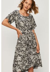 Czarna sukienka ANSWEAR z dekoltem typu hiszpanka, w kwiaty, z krótkim rękawem