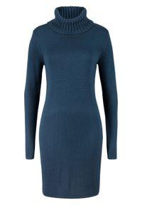 Niebieska sukienka bonprix z golfem, z długim rękawem