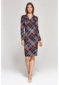 Nife - Elegancka Ołówkowa Sukienka - Kratka. Materiał: wiskoza, poliester. Wzór: kratka. Typ sukienki: ołówkowe. Styl: elegancki