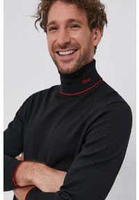 Hugo - Sweter wełniany. Okazja: na co dzień. Typ kołnierza: golf. Kolor: czarny. Materiał: wełna. Styl: casual