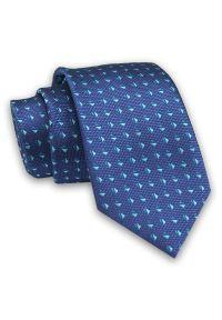 Alties - Granatowo-Miętowy Elegancki Męski Krawat -ALTIES- 7cm, Stylowy, Klasyczny, Wzór Geometryczny. Kolor: niebieski. Materiał: tkanina. Wzór: geometria. Styl: klasyczny, elegancki