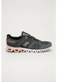Szare buty sportowe On Running na sznurówki, do biegania, na obcasie, z okrągłym noskiem