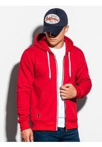 Ombre Clothing - Bluza męska rozpinana z kapturem B977 - czerwona - XXL. Typ kołnierza: kaptur. Kolor: czerwony. Materiał: poliester, bawełna. Styl: klasyczny