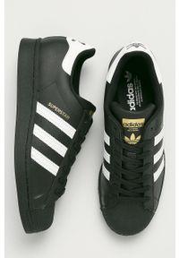 Czarne sneakersy adidas Originals z okrągłym noskiem, z cholewką, na sznurówki