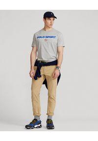 Szary t-shirt Ralph Lauren z nadrukiem, polo, sportowy