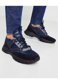 Baldinini - BALDININI - Granatowe sneakersy. Okazja: na co dzień. Zapięcie: sznurówki. Kolor: czarny. Materiał: zamsz, materiał