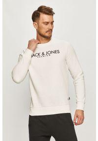 Biała bluza nierozpinana Premium by Jack&Jones casualowa, na co dzień, bez kaptura, z nadrukiem