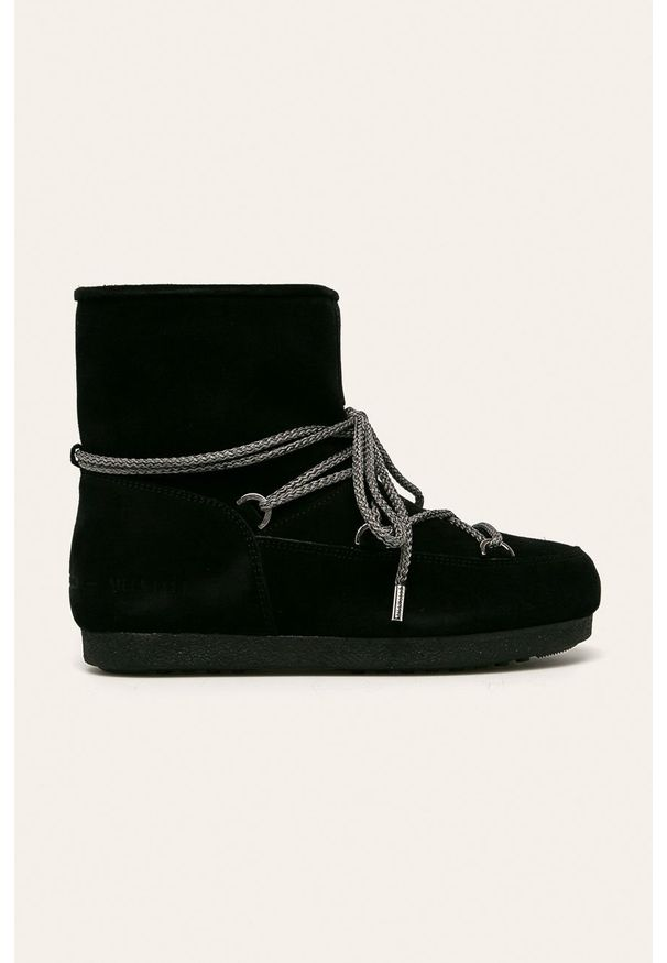 Czarne śniegowce Moon Boot na sznurówki, z cholewką