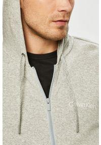 Szara bluza rozpinana Calvin Klein Underwear casualowa, z kapturem