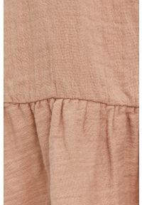 Answear Lab - Sukienka bawełniana. Kolor: beżowy. Materiał: bawełna. Styl: wakacyjny