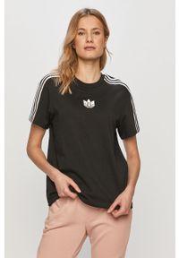 Czarna bluzka adidas Originals casualowa, z aplikacjami, na co dzień