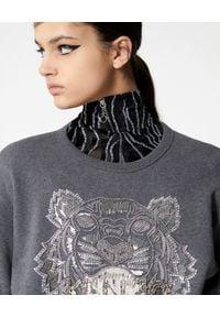 Kenzo - KENZO - Bluza z ozdobnym tygrysem. Kolor: szary. Materiał: bawełna, materiał. Wzór: haft, aplikacja. Styl: klasyczny