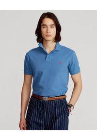 Ralph Lauren - RALPH LAUREN - Niebieska koszulka Mesh Slim Fit. Typ kołnierza: polo. Kolor: niebieski. Materiał: mesh. Długość: długie. Wzór: haft, ze splotem