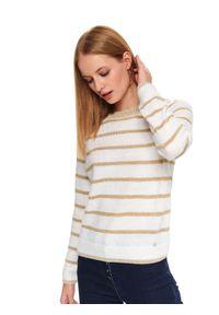 Biały sweter TOP SECRET casualowy, w paski, krótki
