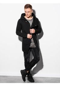 Ombre Clothing - Bluza męska rozpinana z kapturem B668 HUGO - czarna - XL. Typ kołnierza: kaptur. Kolor: czarny. Materiał: poliester, bawełna. Styl: klasyczny, elegancki