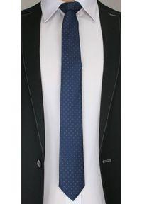 Elegancki Krawat Męski z Drobnym Wzorkiem - 6 cm - Alties, Granatowy. Kolor: niebieski. Materiał: tkanina. Wzór: geometria. Styl: elegancki
