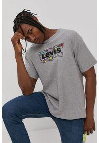 Levi's® - Levi's - T-shirt. Okazja: na co dzień, na spotkanie biznesowe. Kolor: szary. Wzór: nadruk. Styl: biznesowy, casual