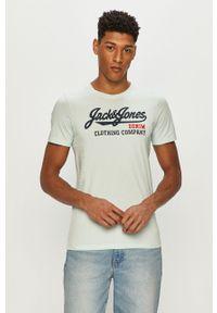 Turkusowy t-shirt Jack & Jones z nadrukiem, na co dzień, casualowy