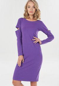 Born2be - Fioletowa Sukienka Syringa. Kolor: fioletowy. Materiał: dzianina. Długość rękawa: długi rękaw. Wzór: jednolity. Długość: midi