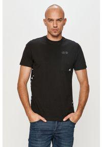 Czarny t-shirt Kappa na co dzień, z aplikacjami, casualowy