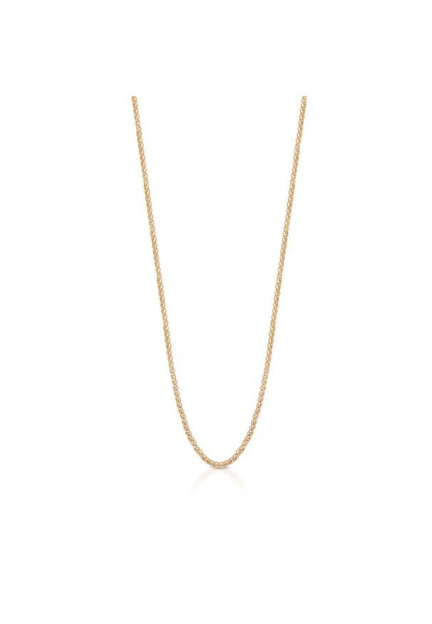 W.KRUK Zjawiskowy Złoty Łańcuszek - złoto 375 - ZUN/LJ401. Materiał: złote. Kolor: złoty. Wzór: ze splotem, aplikacja