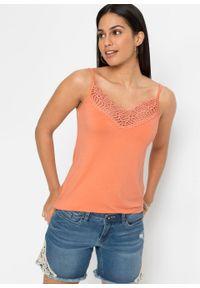 Top na cienkich ramiączkach z koronką bonprix jasnopomarańczowy. Kolor: pomarańczowy. Materiał: koronka. Długość rękawa: na ramiączkach. Wzór: koronka