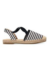 Czarne sandały SIXTH SENS bez zapięcia, w paski, na lato