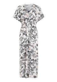 Cellbes Wzorzysta sukienka z tkaniny we wzory female ze wzorem 58/60. Typ kołnierza: dekolt w serek. Materiał: tkanina. Długość rękawa: krótki rękaw. Styl: elegancki. Długość: maxi