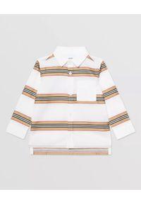 BURBERRY CHILDREN - Bawełniana koszula w paski 0-2 lat. Kolor: biały. Materiał: bawełna. Długość rękawa: długi rękaw. Długość: długie. Wzór: paski. Sezon: lato