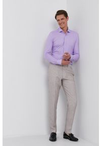 Emanuel Berg - Koszula. Typ kołnierza: kołnierzyk włoski. Kolor: fioletowy