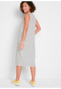 Sukienka z dżerseju z bawełny organicznej, z kieszeniami i szerokimi ramiączkami bonprix czarno-biały w paski. Kolor: czarny. Materiał: jersey, bawełna. Długość rękawa: na ramiączkach. Wzór: paski