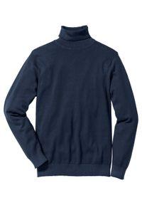 Niebieski sweter bonprix z golfem, klasyczny