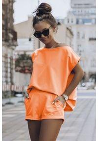 IVON - Letni Komplet Dresowy - Pomarańczowy. Kolor: pomarańczowy. Materiał: dresówka. Sezon: lato