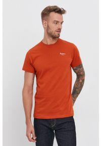 Pepe Jeans - T-shirt bawełniany Derek. Okazja: na co dzień. Kolor: pomarańczowy. Materiał: bawełna. Wzór: gładki. Styl: casual