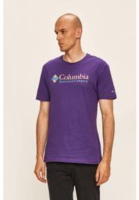 columbia - Columbia - T-shirt. Okazja: na co dzień. Kolor: fioletowy. Materiał: dzianina. Wzór: nadruk. Styl: casual