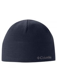 Niebieska czapka columbia z aplikacjami, na jesień