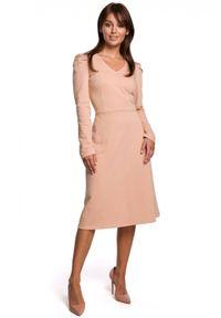 BE - Bawełniana sukienka midi z marszczonymi rękawami. Materiał: bawełna. Długość rękawa: długi rękaw. Wzór: gładki. Długość: midi