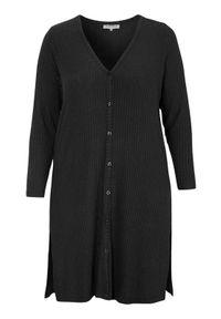 Czarny sweter Zhenzi z dekoltem w serek, długi, melanż, elegancki