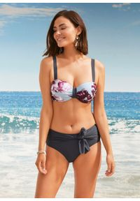 Bikini na fiszbinach (2 części) bonprix jasnoniebiesko-jeżynowy w roślinny wzór. Kolor: niebieski