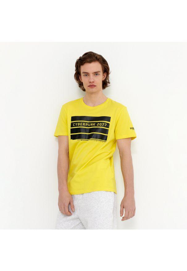Żółty t-shirt House z nadrukiem