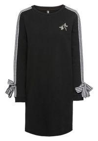 Czarna sukienka bonprix z kokardą, z aplikacjami