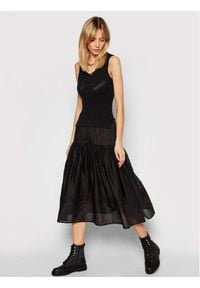 TwinSet - Długa sukienka z dzianinowym topem i muślinową spódnicą Twinset. Kolor: czarny. Materiał: dzianina. Długość rękawa: bez rękawów. Wzór: haft. Styl: klasyczny. Długość: maxi