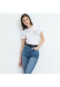 Mohito - Koszulka z błyszczącą aplikacją - Biały. Kolor: biały. Wzór: aplikacja