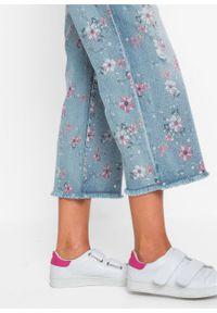"Dżinsy culotte bonprix niebieski ""bleached"". Kolor: niebieski #2"