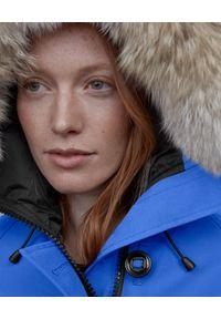 CANADA GOOSE - Niebieska kurtka Chilliwack. Kolor: niebieski. Materiał: materiał, futro. Wzór: aplikacja