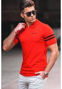 Czerwony t-shirt IVET polo, casualowy, na co dzień