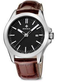 Zegarek Swiza Zegarek męski Urbanus SST czarno-brązowy (WAT.0761.1002). Kolor: czarny, wielokolorowy, brązowy