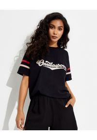 ONETEASPOON - Czarna koszulka z logo. Kolor: czarny. Materiał: bawełna. Wzór: nadruk, aplikacja